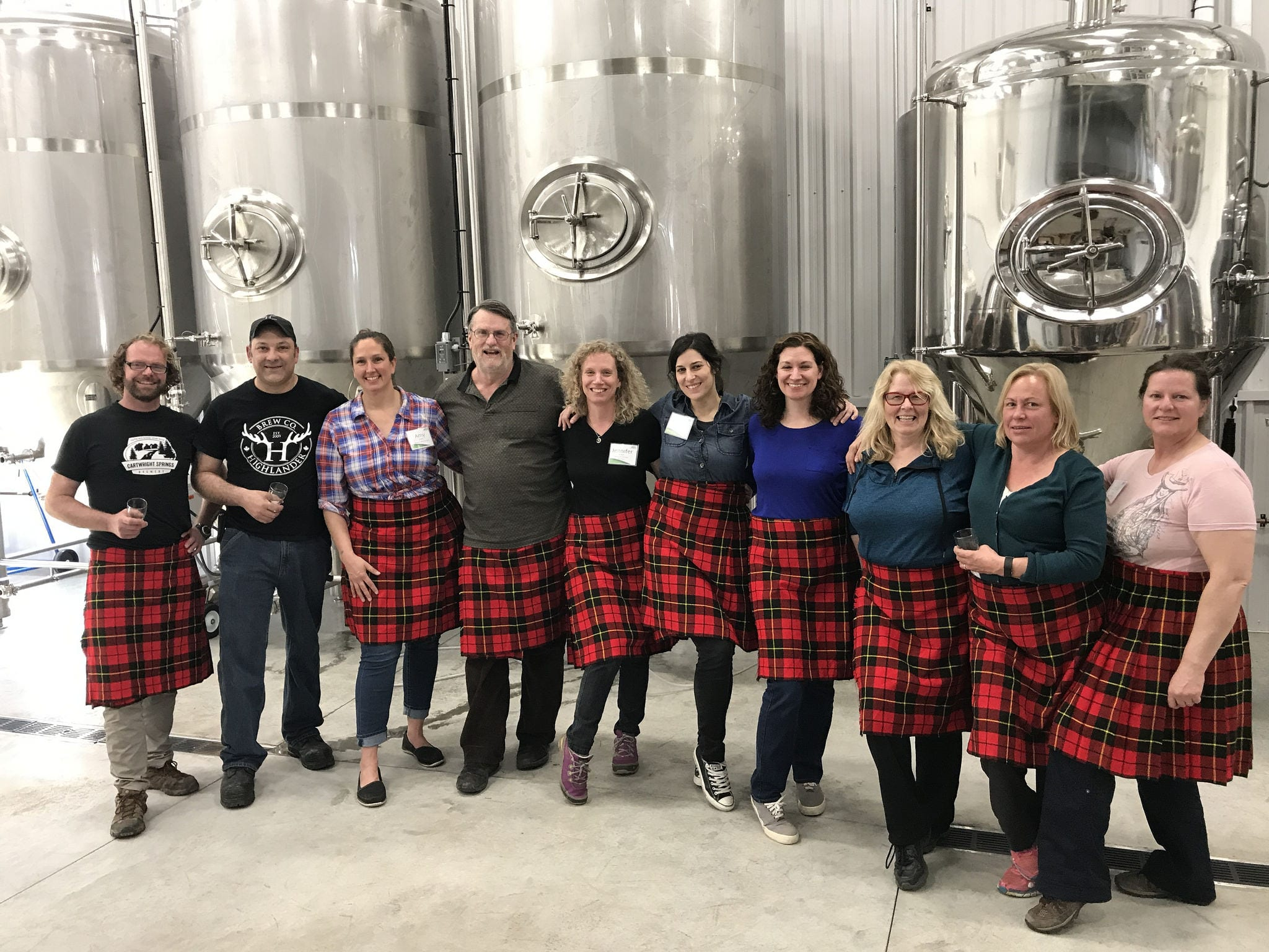 A community group touring Highland Brewery