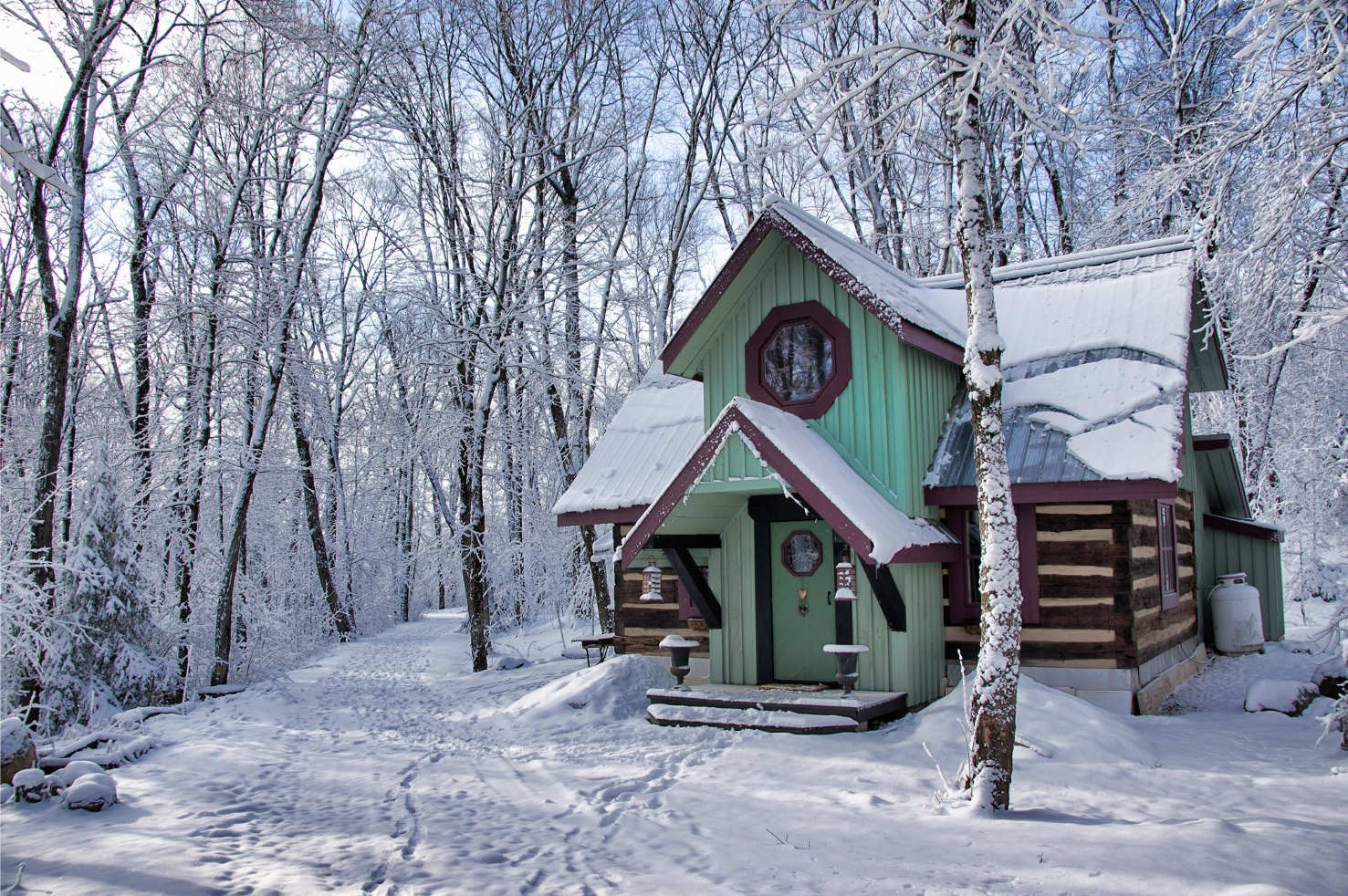 120-year-old log cabin in the woods in winter