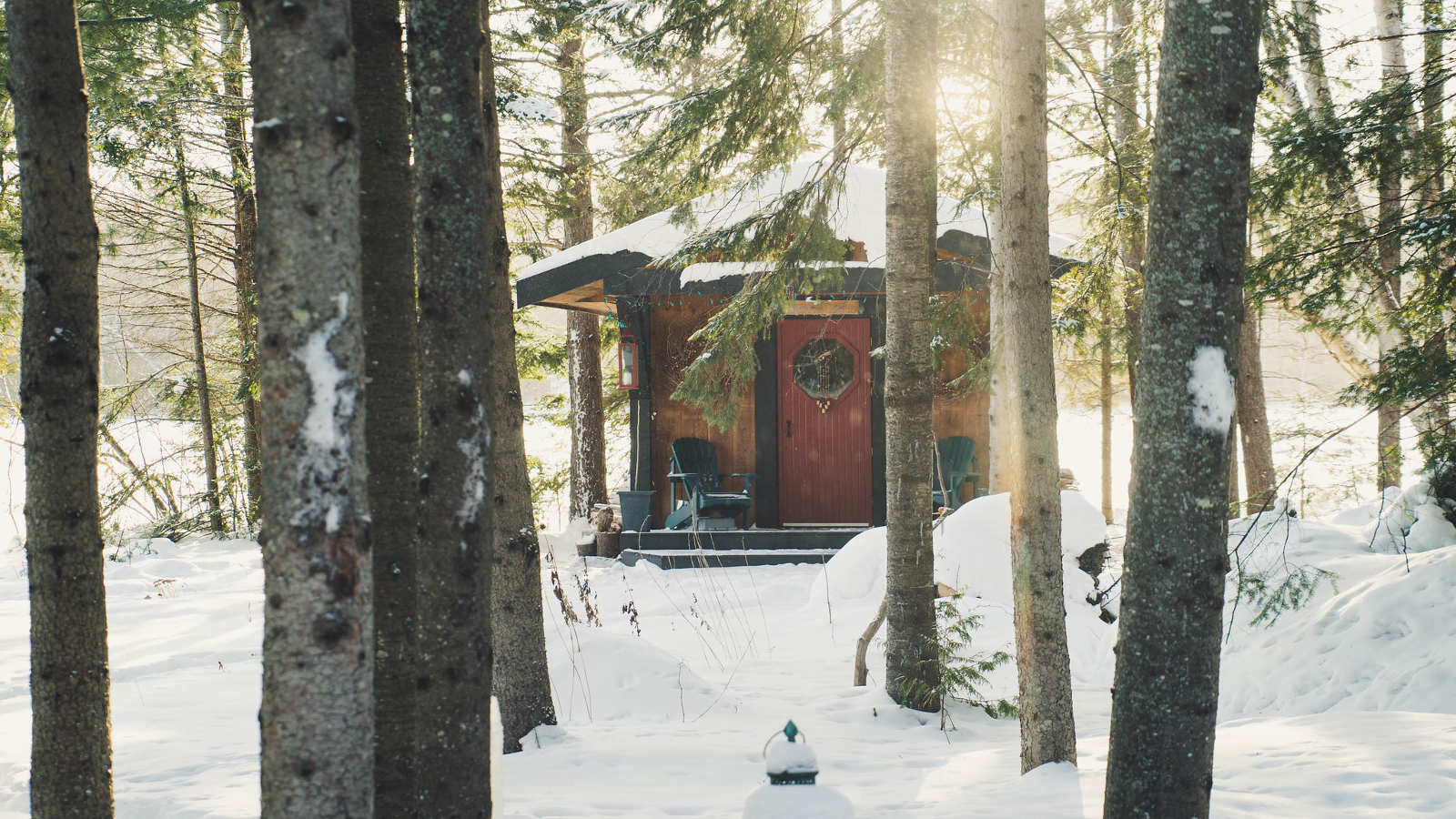 A winter sauna in the forest