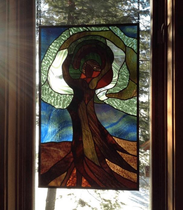 Cedar stain glass
