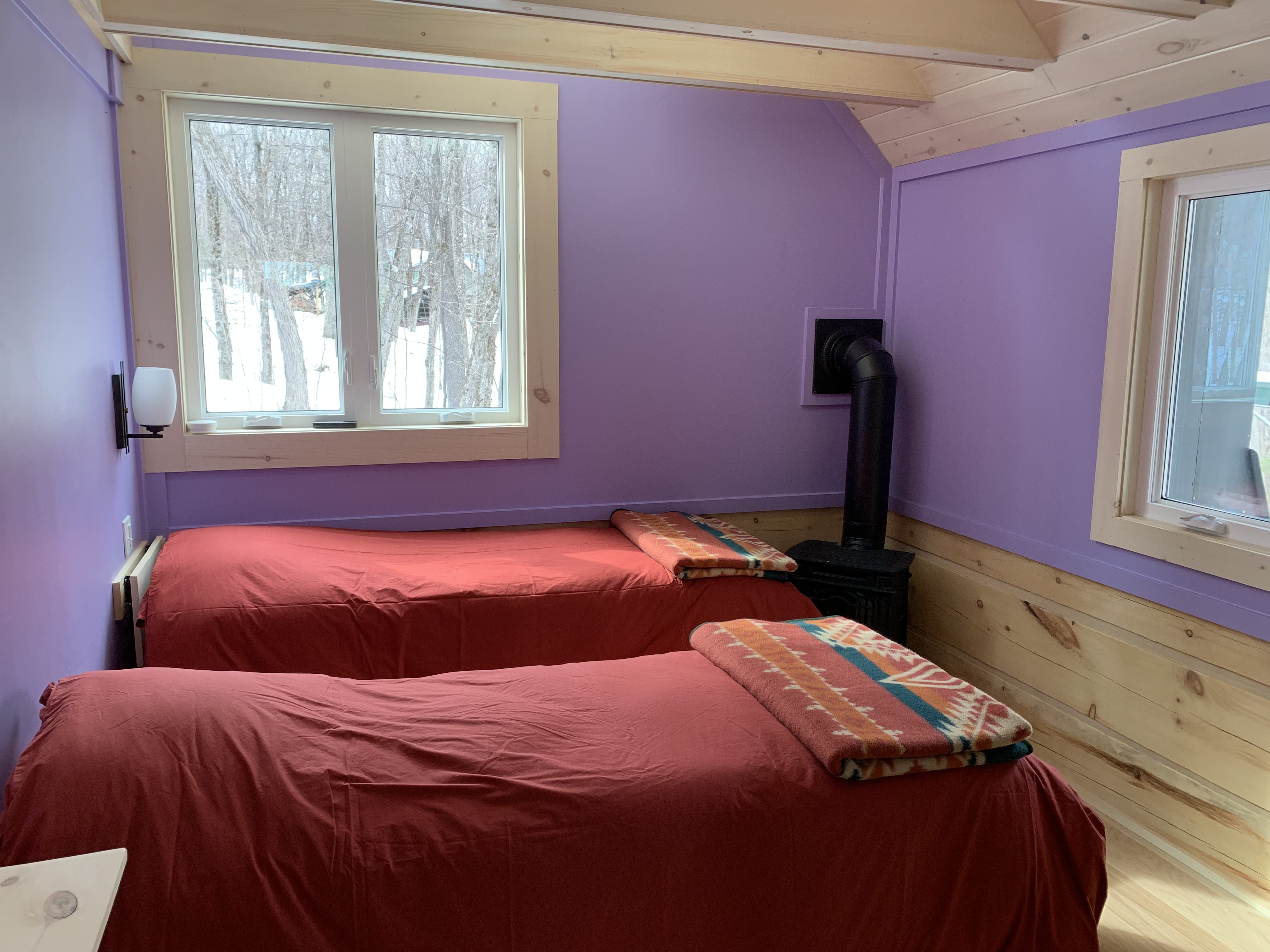 Bright rooms with a forest window view