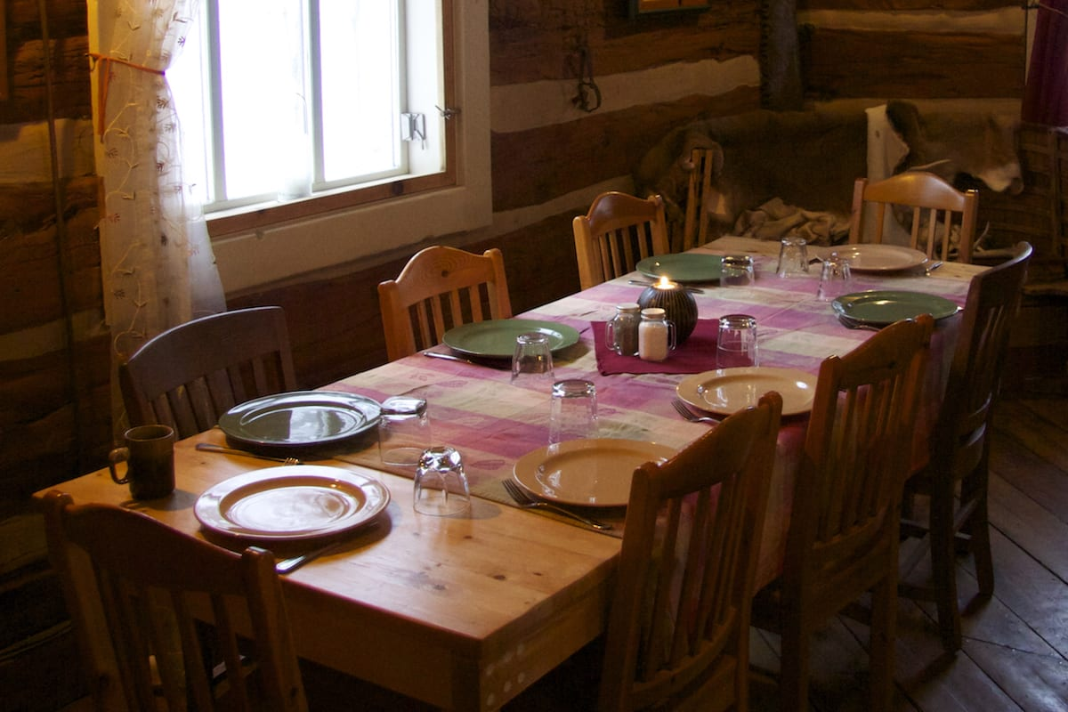 comfortable dining with great food in a log cabin